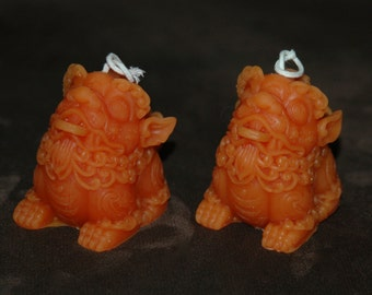 Chinese Dragon Beeswax Candle Set - Lucky Chinese Dragon Candles - Art Deco Candle in  Orange  - Classical Lion Beeswax Candles
