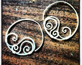 Sterling silver swirled into ocean wave Earrings by Gypsy Lotus