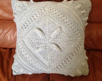 Ready-Made Knit Pillow---SCULPTURED BLOCK in Light GREY (20in)