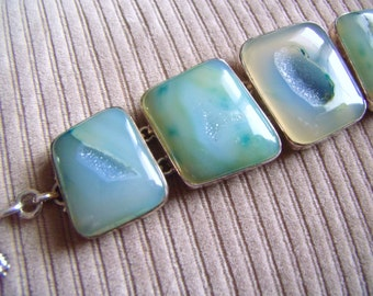 DRUZY Sterling Silver Bracelet Huge AQUA Druzy Sterling Pieces Toggle Bracelet