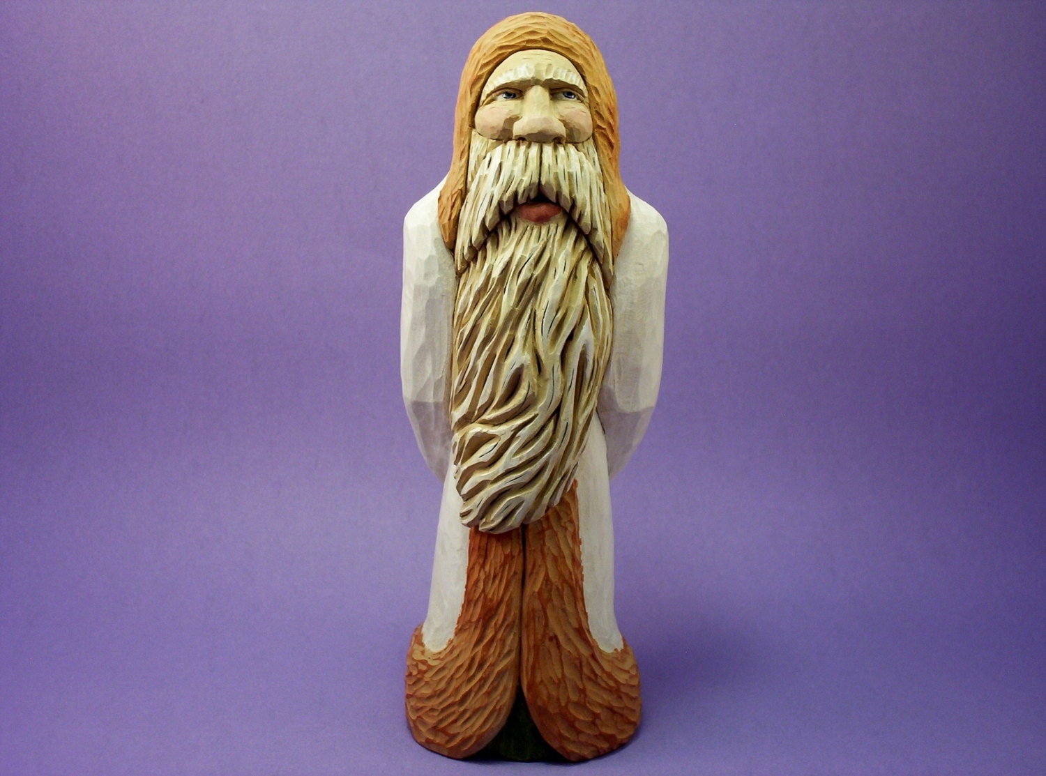 Santa claus wood carving hand carved christmas holiday
