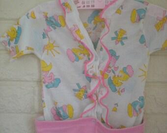 Vintage Pink Chickadee Pajamas, Size 9-12 Months