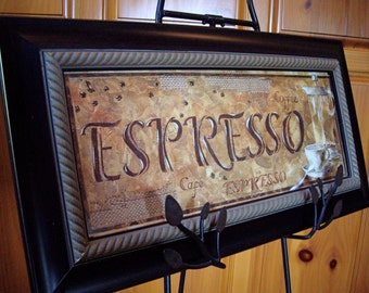 Vintage framed french inspired wall art kitsch home decora art deco look coffee espresso