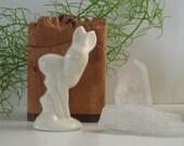 Vintage matte white ceramic deer figurine