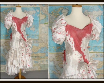 Zombie Prom Queen. Custom Made. Bloody Vintage 80s White Puff Sleeve Ruffled Prom Dress. Zombie Halloween Costume. Size S 4 6