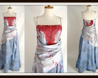 Custom Made Bloody Blue Evening Gown Vampire Queen ELEGANT PRINCESS ZOMBIE Halloween Costume Size 14 L