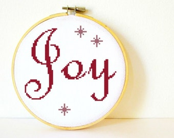 Counted Cross stitch Pattern PDF. Instant download. Joy. Includes easy beginner instructions.