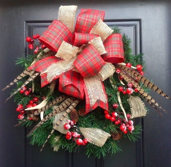 Antler Pheasant Feather And Plaid Christmas Wreath Holiday