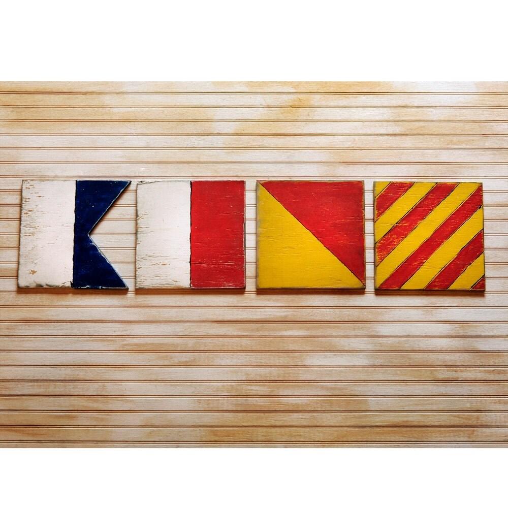 AHOY Flag Set Sailing Flags Nautical Flag Wall Art 4 Pc Set