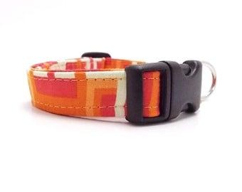 Orange Dog Collar, Modern Dog Collar, Geometric Dog Collar, Small Dog Collar, Decodence Dog Collar, Pets, Dog (XS, Small, Leash Sizes)