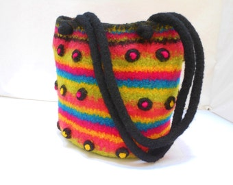 Rainbow Colored Barrel Bag Hand Knit with Black w/Pink and Yellow Bobbles