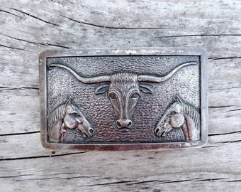 Vintage Longhorn Steer and Horse Heads Belt Buckle, Cast Metal Silver Tone Alloy, Classic Western Cattle Country Icons, Symmetrical Design