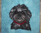 Custom Pet portrait made in fabric. Personalised of your best friend and pet