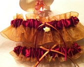 Gold & Burgundy Autumn Fall Wedding Garter Set with Maple Leaf Accent - GarterShop