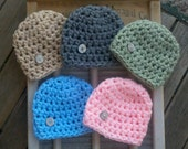 RUSH READY super SALE Today Only Baby Boy Girl Hat Newborn Beanie shower gift crochet hats boys girls Photo Prop Props triplets twins 0-3