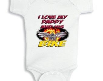 I love my Daddy and his Bike  Baby bodysuit
