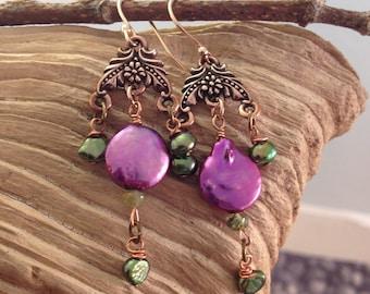 Copper Flower Purple Pearl Earrings