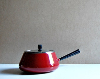 1960s Vintage Cherry Red Cookware Stainless Steel Black Enamelware MidMod Kitchen Lidded Saucepan 60s Fondue Pot MCM Home Midcentury Style