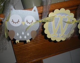 Gender Neutral Owl Baby Banner, Welcome Baby Owl Banner, Gray Yellow Owl Baby Banner, Matching Pom Poms Available