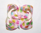 Custom Boutique Pink Green Yellow Polka Dot Grosgrain Ribbon Girls Boutique Hair Bow