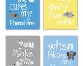 Elephant Art // You are my sunshine Art Prints // Yellow and Gray Nursery Decor // Nursery Wall Art // Baby Shower Gift //4-8x10 PRINTS ONLY