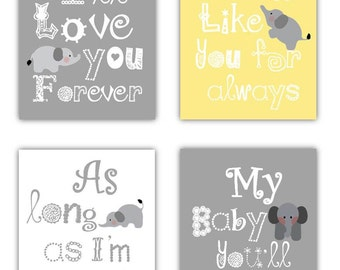 "Art for Kids, Nursery Art Prints, I'll Love you for ever art 4-5x7"" prints,  Boy or Girl Nursery or playroom"