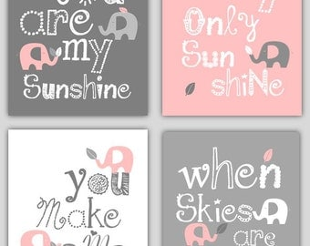 Kids Wall Art // Pink and Gray Nursery Decor // Pink and Gray Art for Girls // You Are My Sunshine Art // Elephant Art // Four PRINTS ONLY