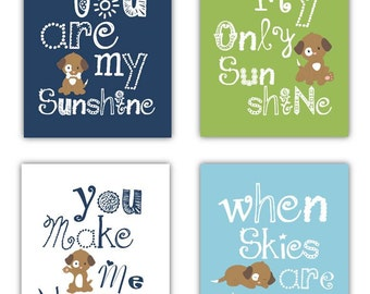 Puppy Art for Kids // Dog Art for Kids // You Are My Sunshine Art // Dogs Nursery Decor // Dog Wall Art for Kids // 4-8x10 PRINTS ONLY