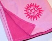 Supernatural Pentagram Starburst Pink Baby Blanket - Double-Sided Fleece MTCoffinz