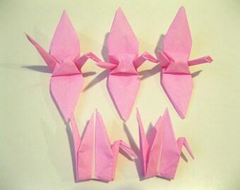 "100 3"" Light Pink origami cranes paper cranes wedding party decoration breast cancer marathon"