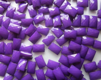 Purple Rectangle Faceted Acrylic Beads Plastic  15mm 20 Beads