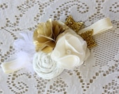 Gold Baby Headband - Gold and Cream Glitter Headband - Baby Girls Headband