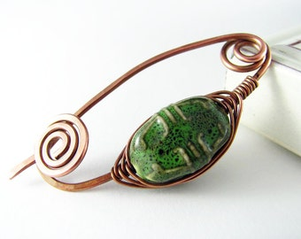 Shawl Pin Copper Wire Scarf Sweater Pin Hand Forged Fibula Wire Wrapped Jewelry Ceramic Bead Copper Jewelry