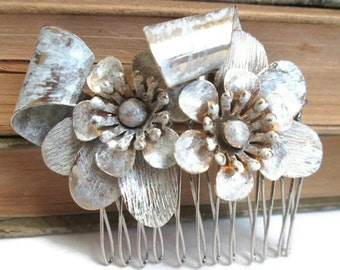 White Bridal Hair Comb Vintage Inspired Handmade Hair Piece Hairpin Wedding Accessories