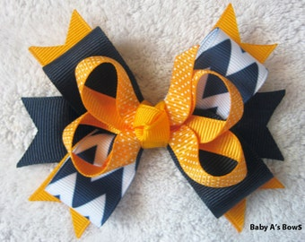 Navy Chevron and Yellow Gold Polka Dot Multi Layer Boutique Bow