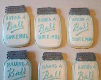 Mason Jar Sugar Cookies - vintage wedding favors - rustic wedding favors - vinatge birthday - mason jar favors - anniversary favors