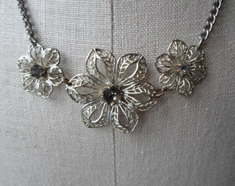 Vintage Silver Tone 3 Flowers Necklace 1940s to 1950s Rhinestone Necklace Filigree Adjustable