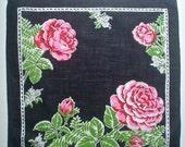 Black Hankie with Bright Pink Roses Vintage Handkerchief