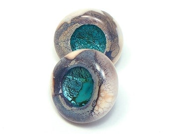 "Glass shank buttons turquoise with sterling silver ""Magic Lake"" set of two"