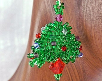Christmas Tree Earrings, 1 1/8 inch (2.9cm) Drops, Handwoven Green Seed Bead Earrings with Tiny Crystal Ornaments, OOAK Holiday Earrings