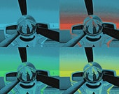 Smile, Poster Art Montage of Prop Aircraft, 11x14, Aqua Blue with Orange, Green and Yellow accents