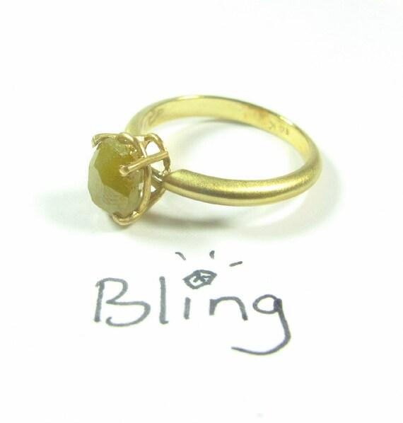 Rough Diamond Engagement Ring / 14k Gold  Big Rough Diamond Engagement Ring One Of a Kind. April Birthstone