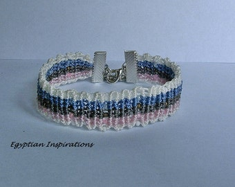 Micro macrame bracelet. Beaded multi colored striped macrame jewelry.