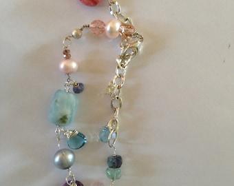 Silver bracelet, Lilac/Pink Pearl, London Blue topaz, Rose quartz, Jade, Etsy jewelry, Lilyb444