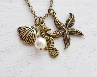 Seahorse Necklace,Shell Necklace,Starfish Necklace,Bridesmaid Gift,Nautical Jewelry,Ocean Charm,Ocean Jewelry,Long Necklace,Beach Wedding