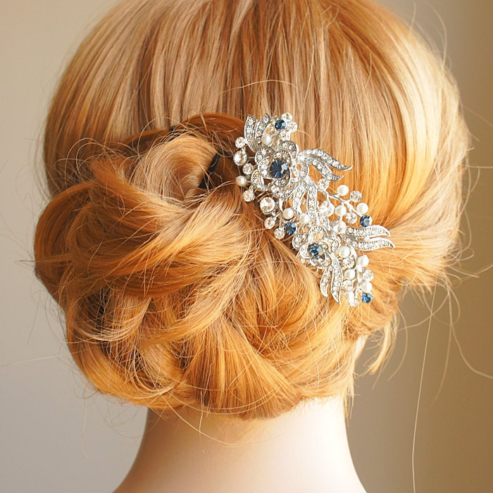 victorian style bridal hair accessories blue by