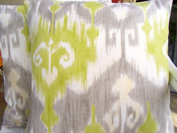 "Celery Taupe Ikat Throw Pillows 18"" Cushion Cover Sofa Pillow Bed Pillows Home Decor Accent Pillow Celery Taupe/Gray Lime Ikat Drapery"