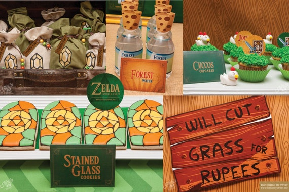 Zelda party set instant download zelda birthday by for Decoration zelda
