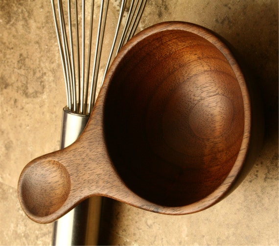 Hand Carved Wooden Half Cup Measure Measuring Spoon Kitchen