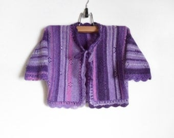 Knitted Baby Jacket - Purple, Violet, 2 years